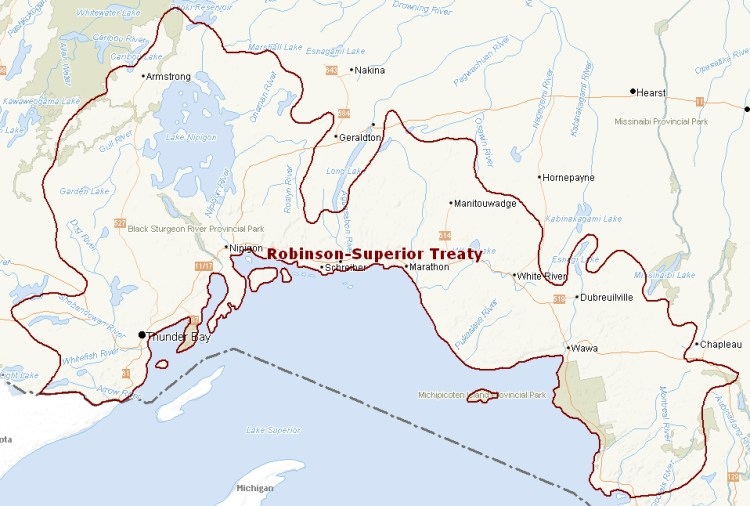 Map of Robinson-Superior Treaty territory.